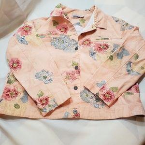 Chico's peach floral cotton button down jacket.